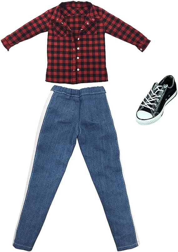 Amazon.es: sharprepublic 1: 6 Camisa A Cuadros De Hombre Pantalones Vaqueros con Zapatos para DML 12: Juguetes y juegos