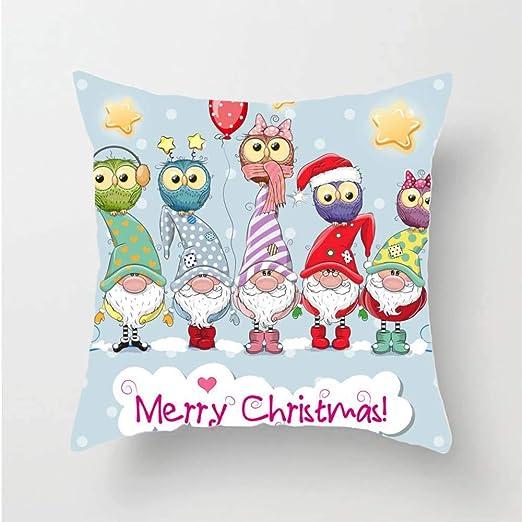 JUNMAONO Hogar Cojín Navidad Bordado de algodón de Lino ...