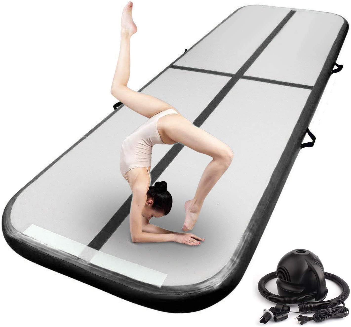 FBSPORT 13ft//16ft//20ft//23ft//26ft Inflatable Air Gymnastics Mat Training Mats 4//8 inches Thickness Gymnastics Tracks for Home Use//Training//Cheerleading//Yoga//Water with Pump