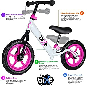 Fox Air Beds (4 LBS) Balance Bike for Kids and Toddlers - ALUMINUM Light Weight No Pedals Push and Stride Walking Bicycle (Pink)