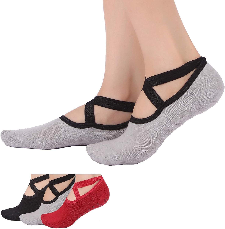 Ideal for Pilates Dance Pure Barre Barefoot Workout,Black Grey Red 3PACK Yoga Socks for Women Non-Slip Grips /& Straps Ballet