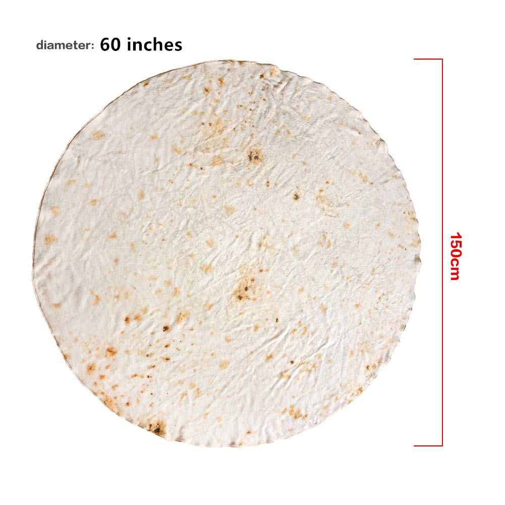 Burrito-a, 47 inches MAICICO Burritos Tortilla Blanket,Food Flour Tortilla Throw Blankets,Super Soft Plush Giant Round Beach Blanket for Adults and Kids