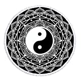 LIPOR Handcraft Round Beach Towel, Bohemian BOHO Indian Traditional YinYang Hippie Mandala Black And White,Thick Round Beach Towel Tapestry Blanket Yoga Mat With Tassels 60 inches