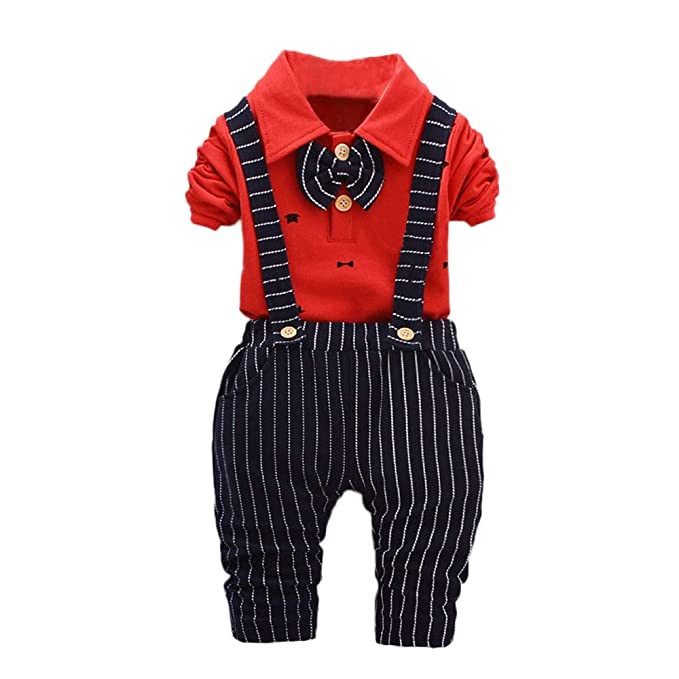 LIKESIDE Kids Baby Boys Girls Outfits T-Shirt Tops+Stripe Long Pants Clothes Set
