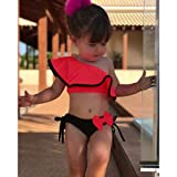 2Pcs Toddler Baby Girl Swimsuit Sexy One Shoulder