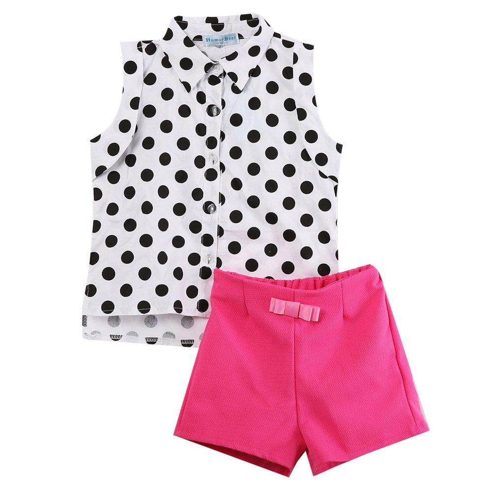 2pcs Kids Girl Outfits Clothes Set Polka Dot Top T-shirt + Bowknot Pants Shorts