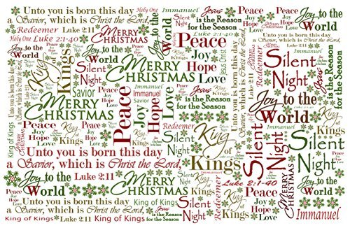 Outside the Box Papers Christmas Placemats- 11x17- Red, White, Green, Christian Text- Set of 8