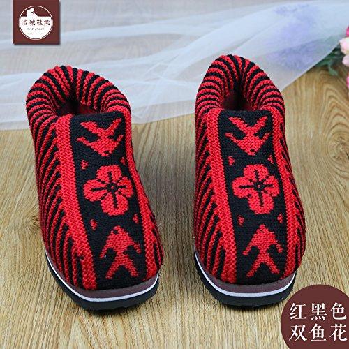 LaxBa Femmes Hommes chauds dhiver Chaussons peluche antiglisse intérieur Cotton-Padded Slipper chaussures rouge et noir (poisson)