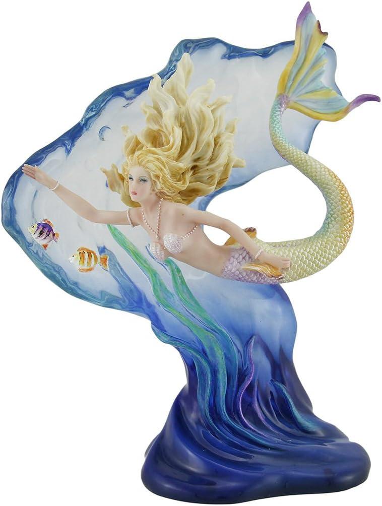 Veronese Design Heart of the Ocean Mermaid Sculpture