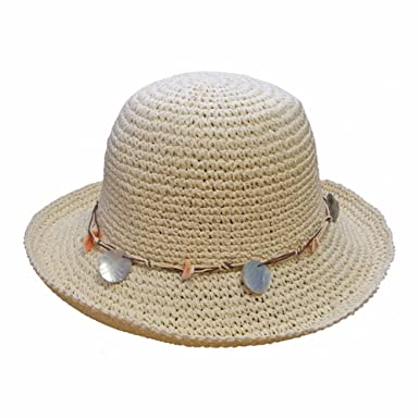 Ladies Packable Crushable Summer Hat with Shell Design (57 d1dd534641e