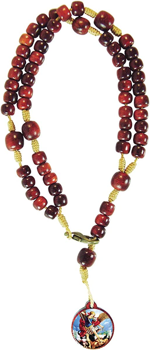 Catholica Shop Catholic Religious Wear Saint Michael Medal Bracelet With Cherry Wood Beads Rosary - Made in Brazil