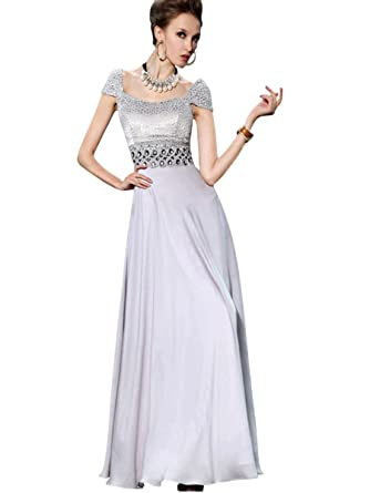 Elliot Claire London Silver Floor Length Evening Dress with Sparkling Bodice