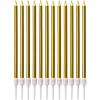 Beauenty 12Pcs Birthday Cake Candles Gold Color 12cm Tall Pencil Candles for Birthday Wedding Baby Shower Party…