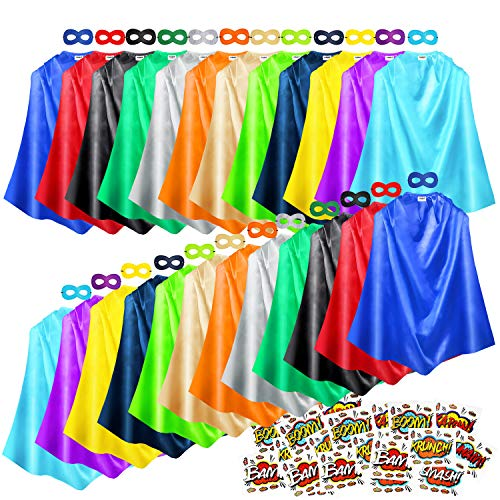AIMIKE Superhero Capes and Masks, 24 Sets Bulk Pack Kids Capes, Dress Up Costume for Birthday Party, with Superhero Stickers