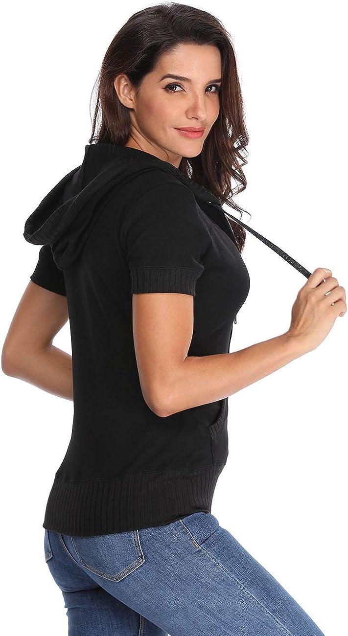 MISS MOLY Womens Short Sleeve Hoodie Full Zip Up Cotton Slim Fit Sweatshirt Kanga Pocket