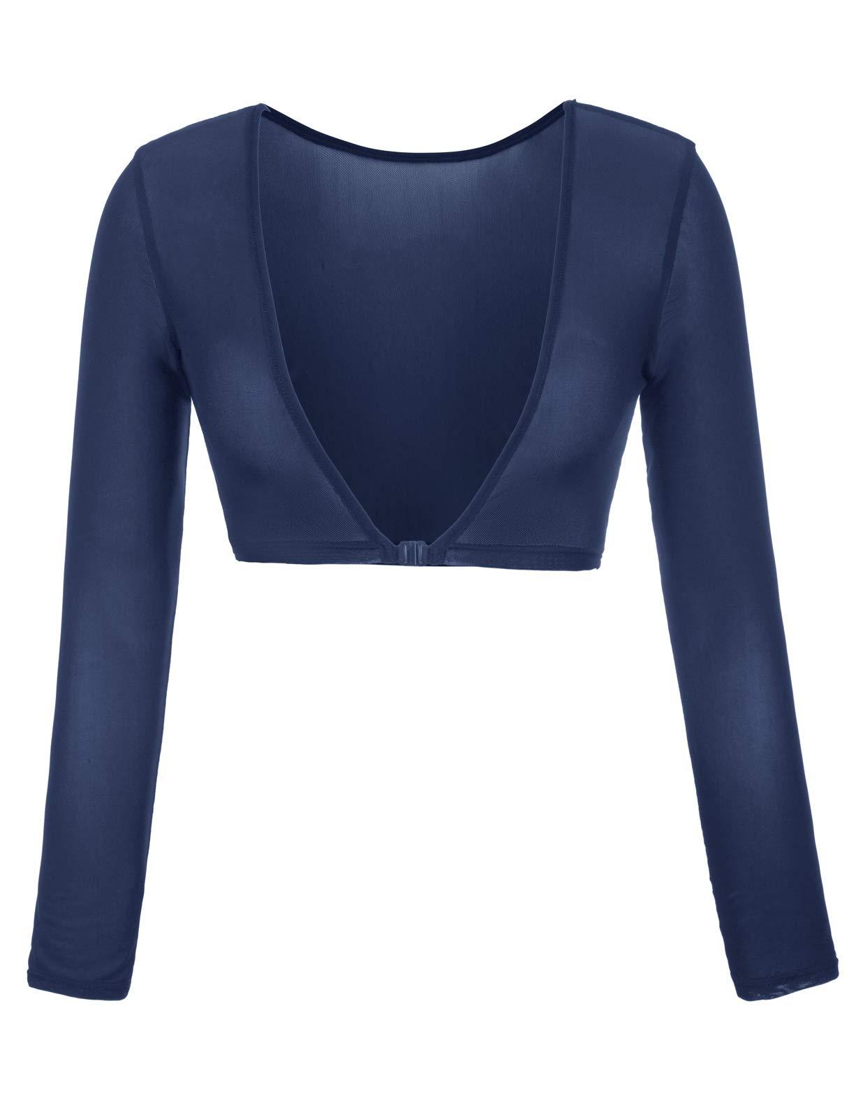 Kate Kasin Women's Summer Sexy Long Sleeve Crop Top Blouses (M,0899#Navy)
