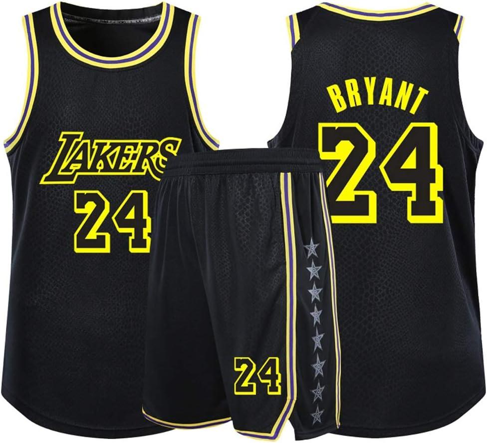 Dray Conjunto de Ropa de Baloncesto Kobe Bryant Lakers No. 24 Kobe Bryant Lakers No. 24 Basketball Clothes Set (Color : Black, Size : 5XL 185-190cm)
