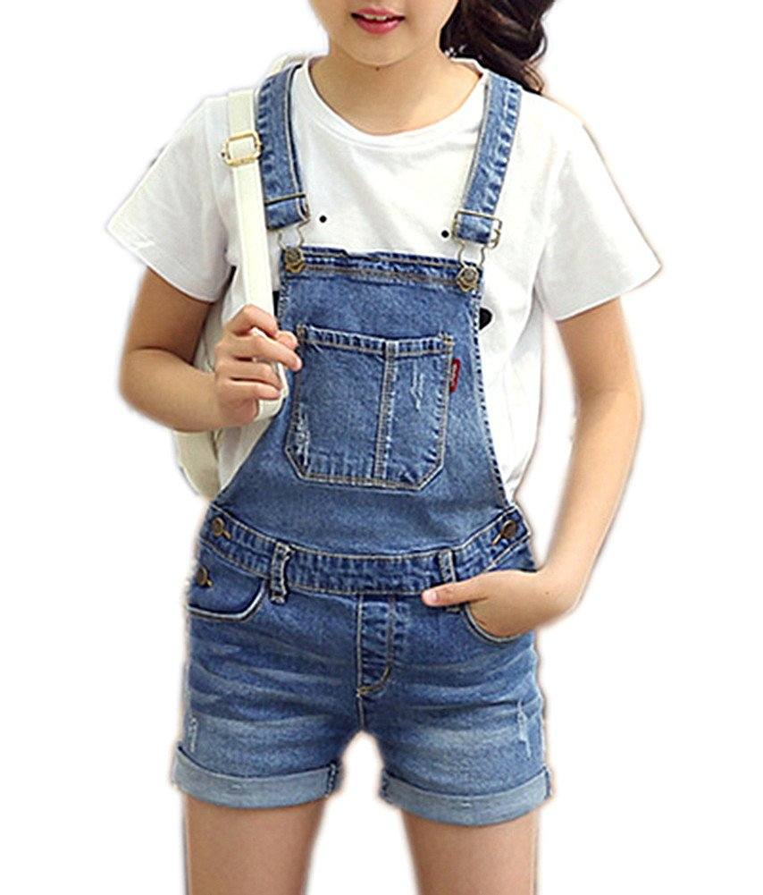 Sitmptol Girls Little Kids Distressed BF Jeans Cotton Denim Ripped Bib Overalls 160 Blue