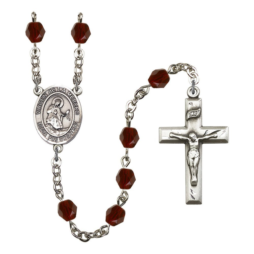 Bonyak Jewelry Virgen de la Merced Silver-Plated Rosary Every Birth Month Color and More Bliss Manufacturing R6006S-8289SP