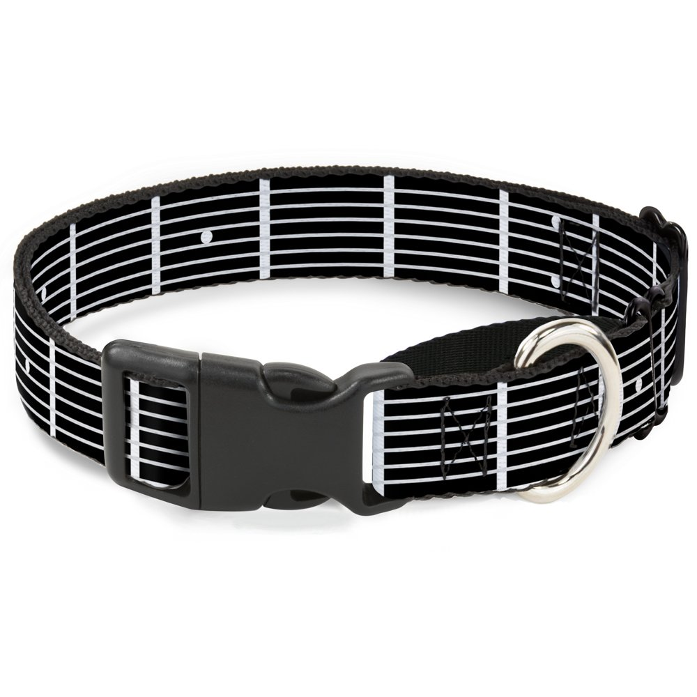 Buckle-Down Guitar Neck Black White Martingale Dog Collar, 1  Wide-Fits 15-26  Neck-Large
