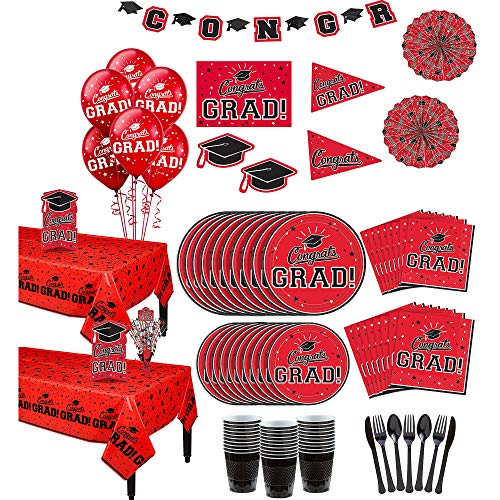 Party City Red Congrats Grad 2019 Graduation Party Supplies for 36 Guests with Banner, Tableware and Balloons