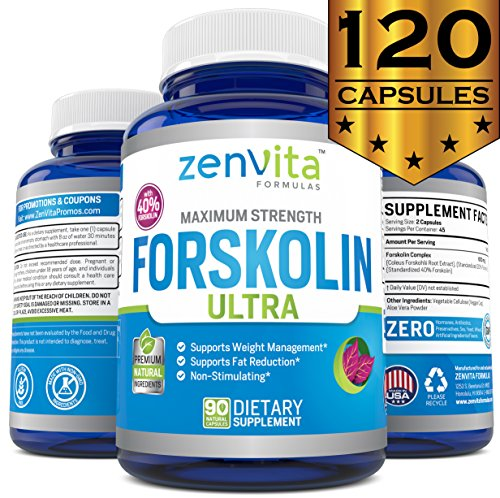 100% Pure Forskolin W/ 40% Standardized Extract, 90