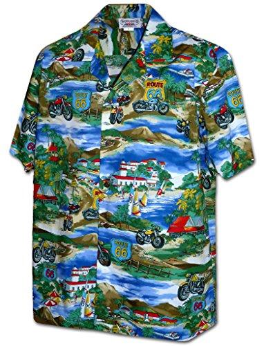 (Pacific Legend Apparel Route 66 Motorcycle Tour Hawaiian Aloha Shirt Blue)