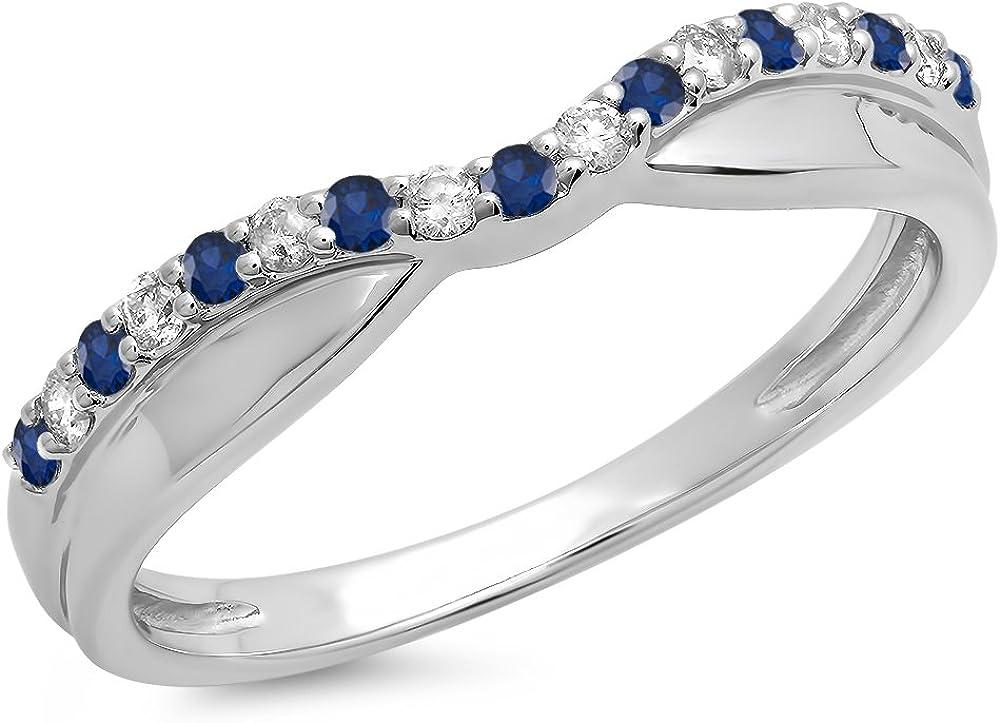 14K Gold Round Cut Blue Sapphire & White Diamond Anniversary Wedding Stackable Contour Guard Band