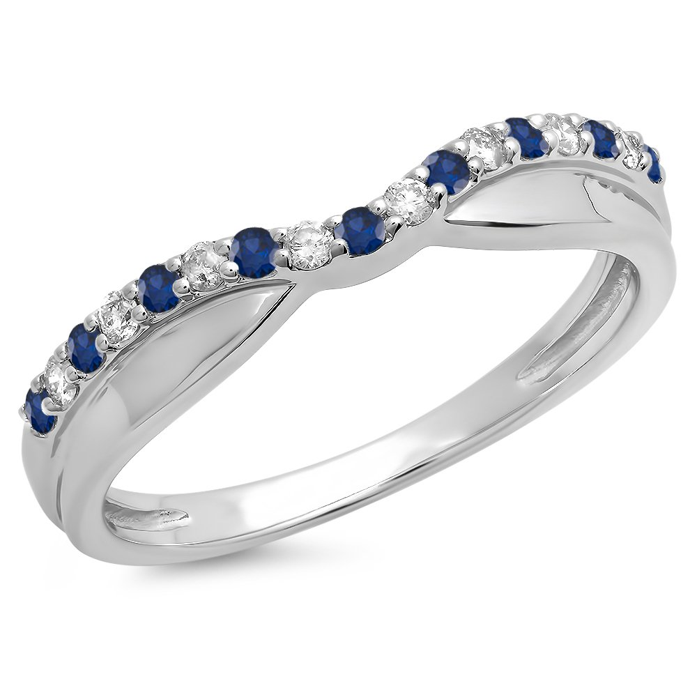 DazzlingRock Collection 14K White Gold Round Blue Sapphire & White Diamond Anniversary Wedding Contour Guard Band (Size 5)
