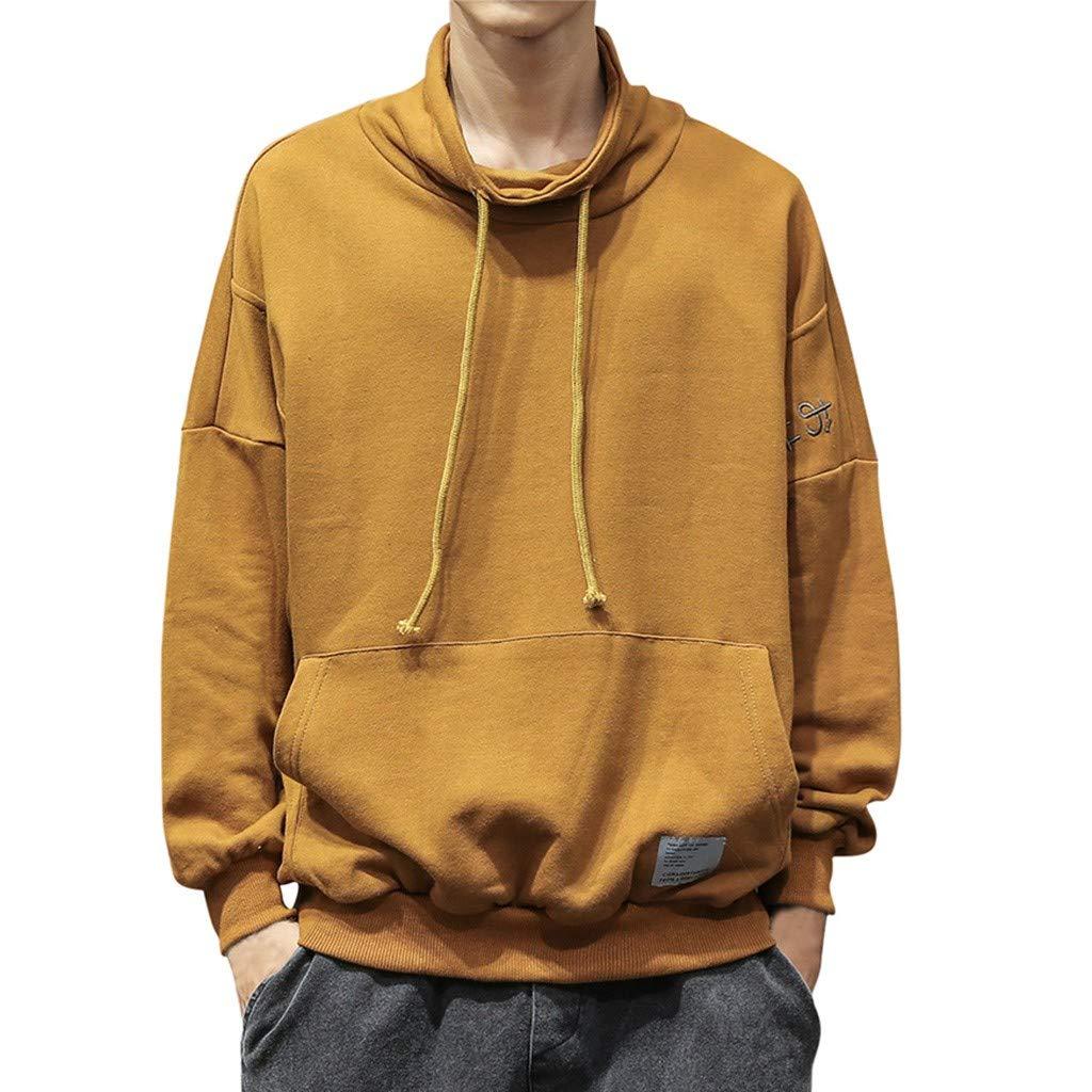 HebeTop  Men's Midweight Original Fit Hooded Pullover Sweatshirt K121 Yellow by HebeTop➟Men's Clothing