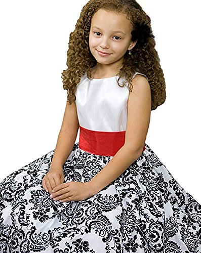 White with Black Velvet Special Occasion Dress w/ Removable Red Sash Girl 6