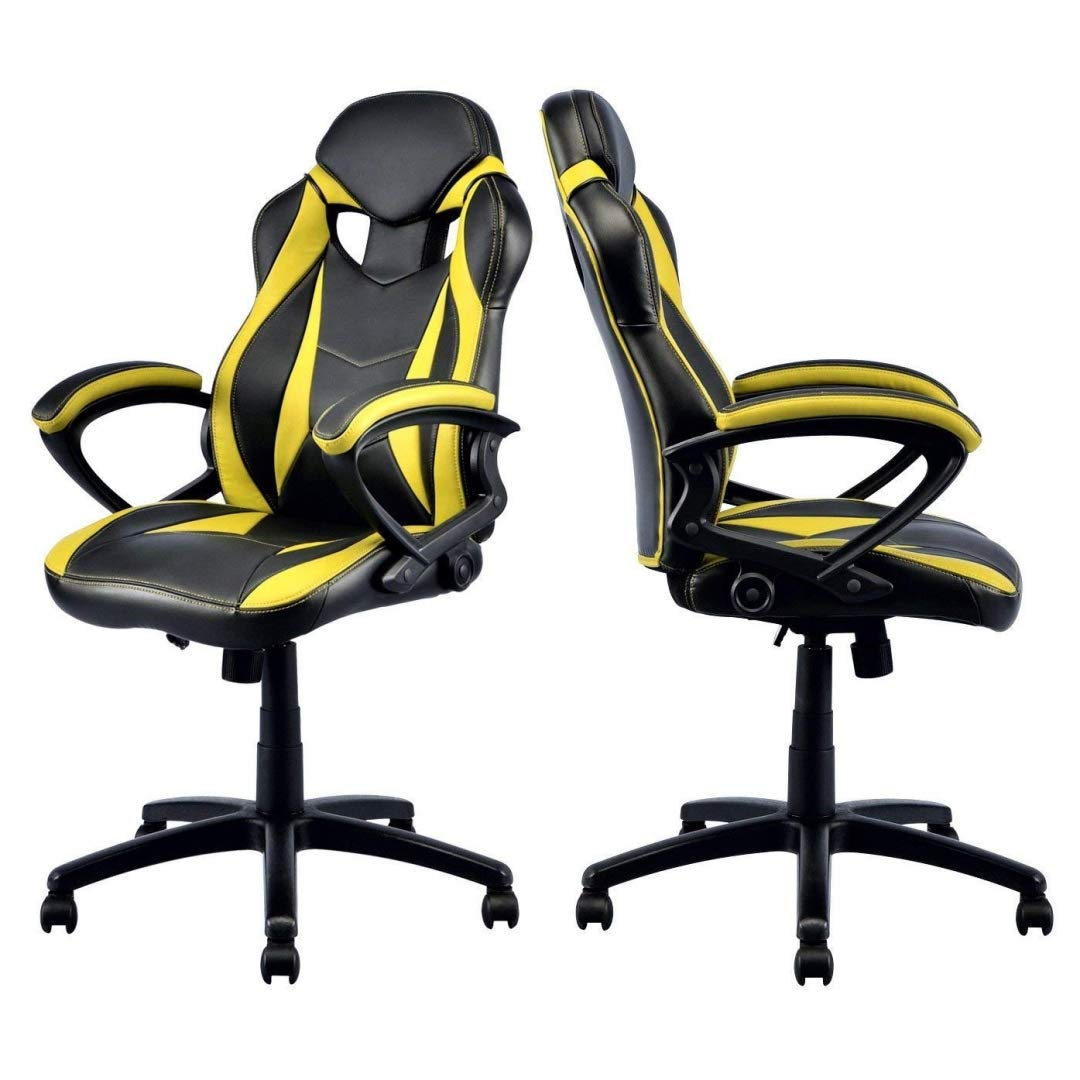 Modern Style High Back Gaming Chairs 360-Degree Swivel Design Desk Task PU Leather Upholstery Thick Padded Seat Posture Support Home Office Furniture - Set of 4 Yellow/Black #2123 by KLS14