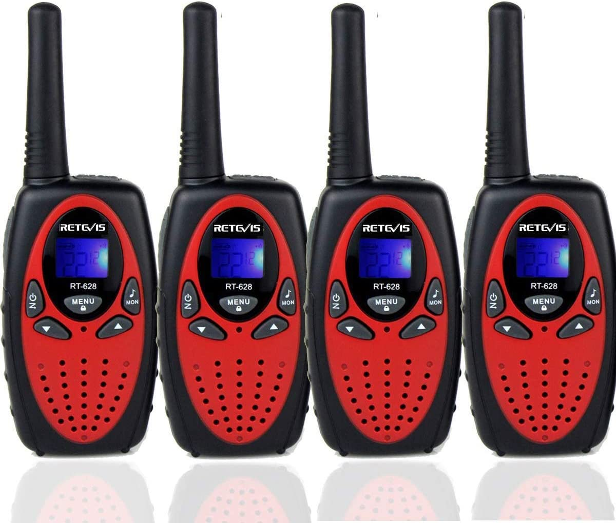 Retevis RT628 Walkie Talkies for Kids,22 Channels 2 Way Radio Long Range Toy for 4-12 Year Old Boys Girls,Handheld Two Way Radio,Kids Toy for Outside, Camping, Hiking 4 Pack,Red