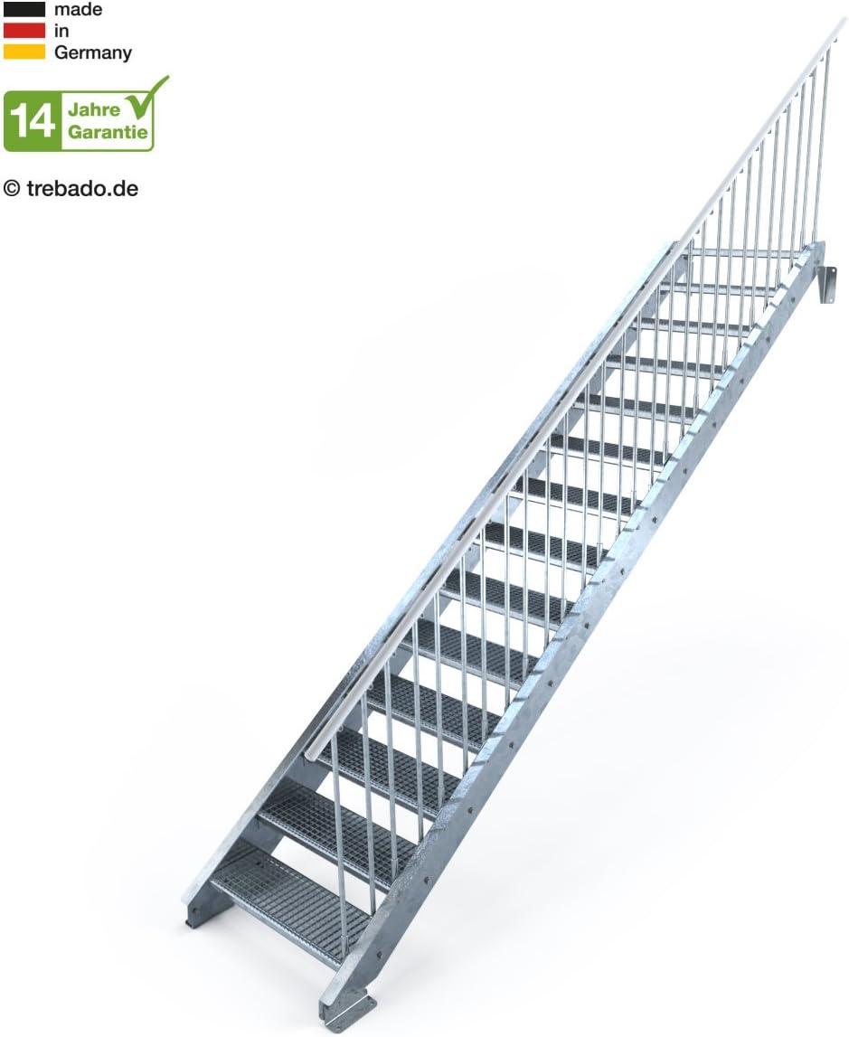 Anstellh/öhe variabel von 233 cm bis 280 cm Au/ßentreppe 14 Stufen 80 cm Laufbreite einseitiges Gel/änder rechts feuerverzinkte Stahltreppe mit 800 mm Stufenl/änge als montagefertiger Bausatz Gitterroststufe ST1