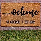 Customized Welcome Doormat with Last Name - 18x30 100% Coir with Mat Backing - Perfect Housewarming Gift