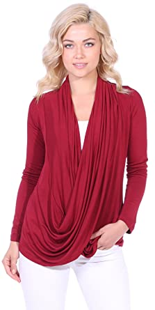 89f1f19bd0 Popana Womens Casual Long Sleeve Criss Cross Fall Cardigan Plus Size Made  in USA Small Burgundy