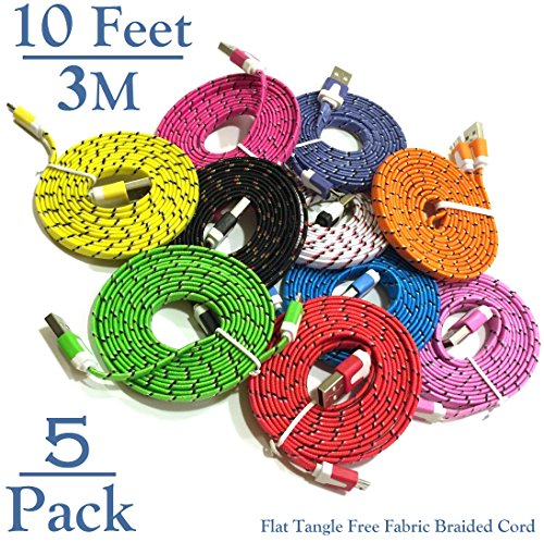 Josi Minea 5 Pcs Fabric Braided Flat Tangle Free Nylon Premium High Quality Ruggedized Micro USB Rainbow Cables 10 Feet / 3 Meter Charger Sync Data Rapid Charging Cable USB Cord Wire for Samsung Galaxy S3 / S4 / S5 / S2, Samsung Galaxy Note / Note 2 / 3 / 4, Galaxy Tab, Google Nexus 7 / 10, Nokia Lumia, and Most Android Tablets / Android Phones / Windows Phones - 10Ft/3M (5 Pack)
