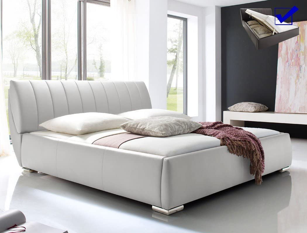 expendio Luanos - Cama tapizada de piel sintética blanca ...