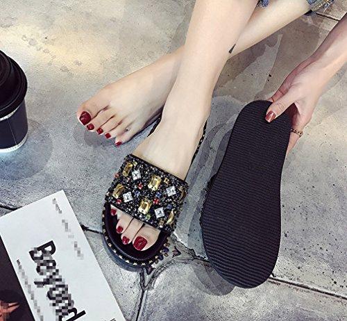 Negro Y Slipper Cuadrado Fashion Antideslizante Un Rhinestones Liangxie Plana Diamante Comfort Palabra Mujer Con Drag Parte Gruesa Zhhzz Una Zapatos Estilo Lady Nuevo Inferior De Muffin xUXqnwn4