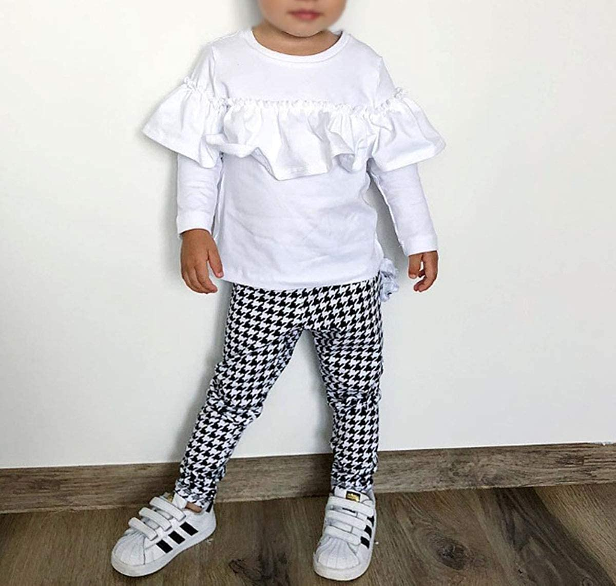 Toddler Baby Girls Ruffle Long Sleeve Tops Shirt Plaid Houndstooth Pants Outfit Set