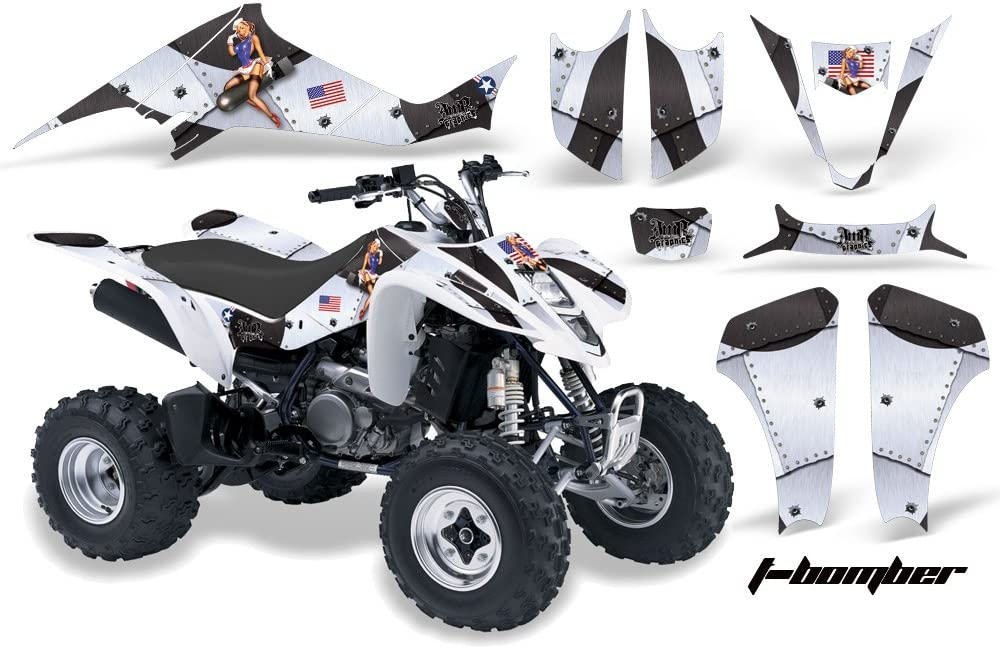 T-Bomber White AMR Racing ATV Graphics kit Sticker Decal Compatible with Suzuki LT-Z400 2003-2008