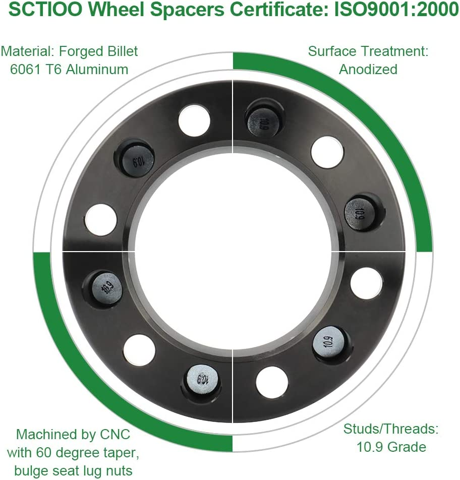 SCITOO 2X 1.5 8x6.5 to 8x6.5 Wheel Spacers 8x165.1 to 8x165.1mm 9//16 Studs 126.15mm Compatible with Ram 2500 Ram 3500 Dually Ford Econo88line E350 Econoline E250