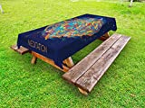 Lunarable Meditation Outdoor Tablecloth, Male Soul Silhouette on Motley Outer Space Backdrop Mystical Yoga Wisdom Zen, Decorative Washable Picnic Table Cloth, 58 X 104 inches, Multicolor
