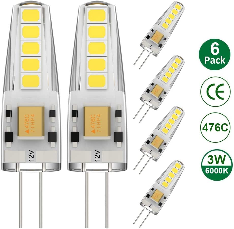 Ralbay G4 LED 12V, 3W G4 Led Equivale a 30W 12V Bombilla Blanco frío 6000K AC/DC 12V 300Lm 476C Capacitor incluye IC 360º Ángulo de haz Ra80, no regulable, paquete de 6: