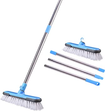 Floor Scrubbing Brush with Soft Bristles Floor Scrubber Indoor Long Handle Cleaning Brush Push Broom for Home Kitchen Bathroom Tub Decking Patio Grout Tile Carpet Wood 12.2 inch Wide