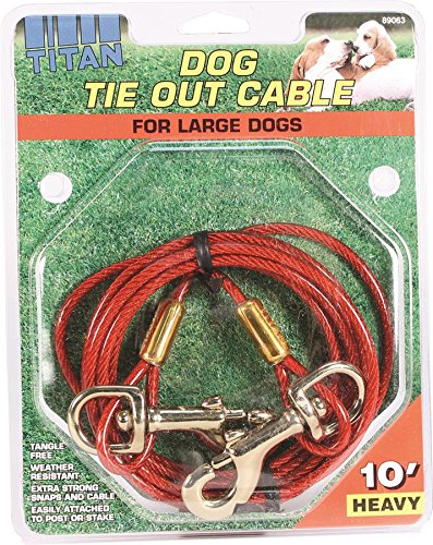 DCP89063 Titan Dog Heavy Tie Out Cable with Brass Plated Snaps, 10-Feet (Coastal Pet Cable Tie Out)