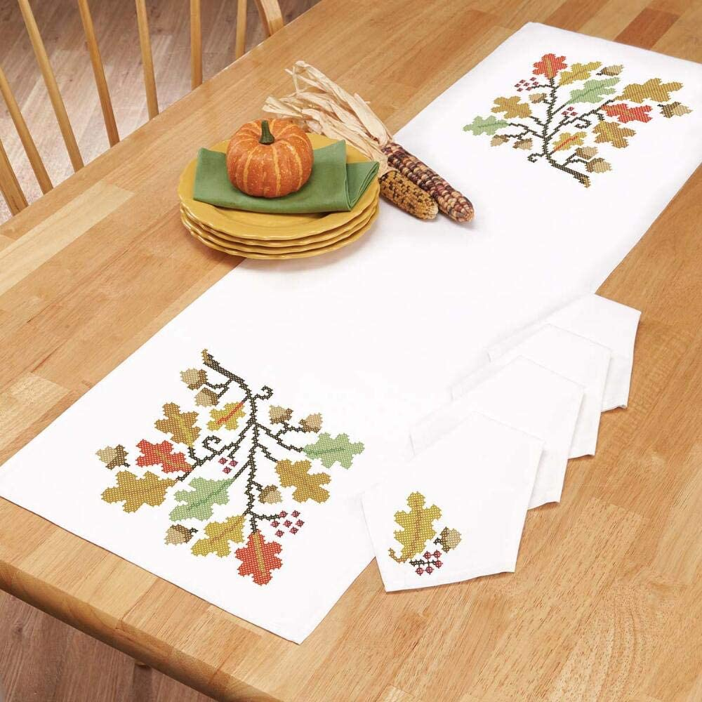 Herrschners Autumn Leaves Table Runner /& Napkins Stamped Cross-Stitch