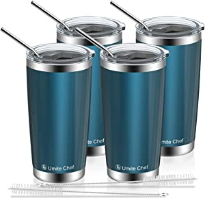 Umite Chef 20oz Tumbler, Stainless Steel Vacuum Insulated Double Wall Travel Mug Tumbler with Splash Proof Sliding Lid, Durable Insulated Coffee Mug,Thermal Cup (4 Pack, Blue Green)