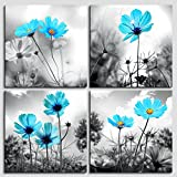 4 piece Modern Salon Theme Black and White Plant Blue Flower Abstract Painting Still Life Canvas Wall Art for Home Decor Flower Canvas Print Painting For Living Room Decor Restaurants and kitchens