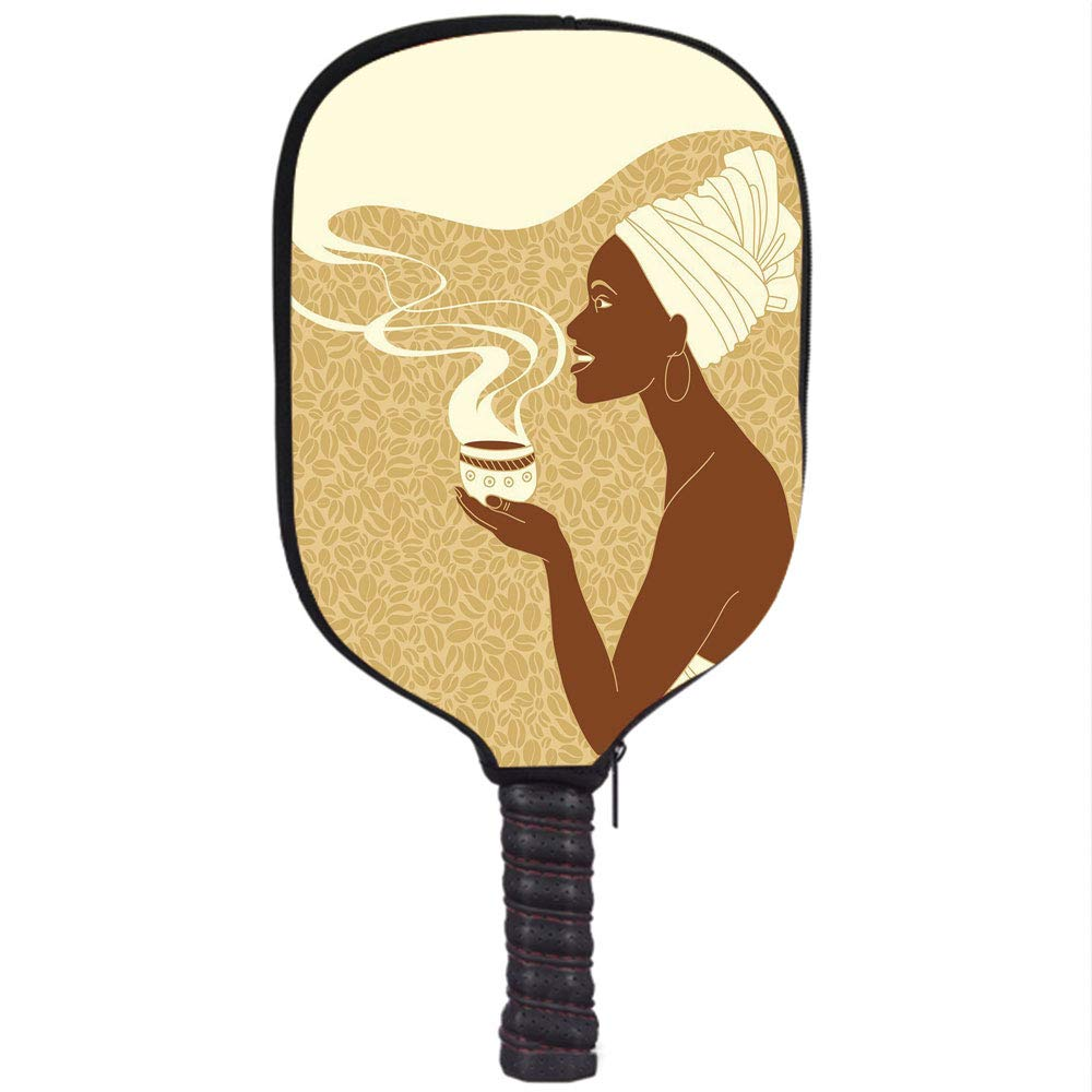 iPrint Neoprene Pickleball Paddle Racket Cover Case,African Woman,Smiling Happy Afro Lady with Hot Coffee Cup Seeds Cocoa Vintage,Brown Light Brown Cream ...